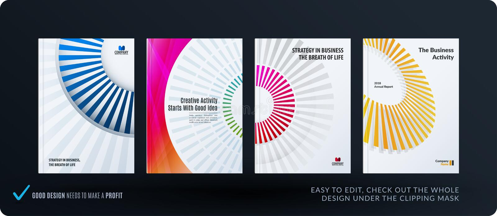 Template. Creative abstract minimal design of brochure set, annual report, horizontal cover. Flyer in A4 with colourful rays, circles for branding. Business royalty free illustration