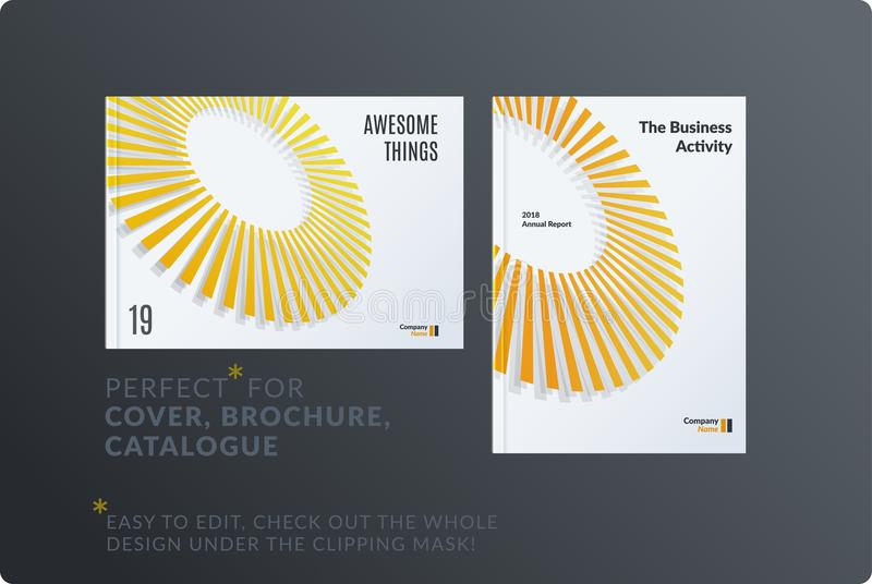 Template. Creative yellow grey abstract minimal design of brochure set, annual report, horizontal cover. Template. Creative abstract minimal design of brochure vector illustration