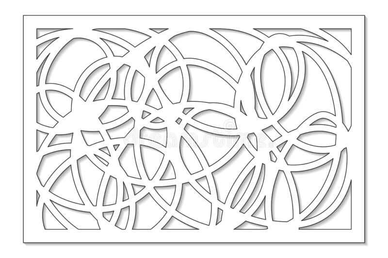Template for cutting. Abstract line, geometric pattern. Laser cut. Set ratio 2:3. Vector illustration.  royalty free illustration