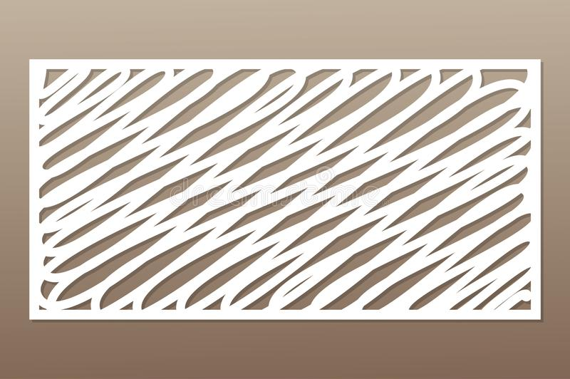 Template for cutting. Abstract lines art pattern. Laser cut. Ratio 1:2. Vector illustration.  stock illustration