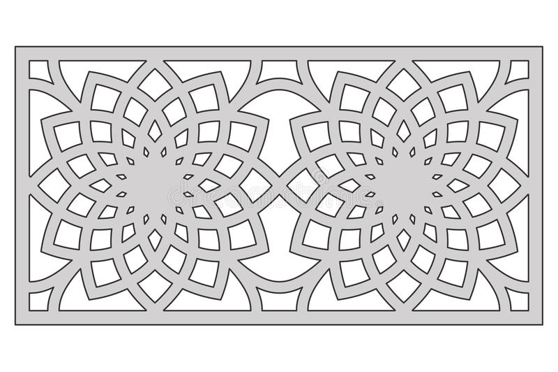 Template for cutting. Geometric flower pattern. Laser cut. Ratio 1:2. Vector illustration.  stock illustration