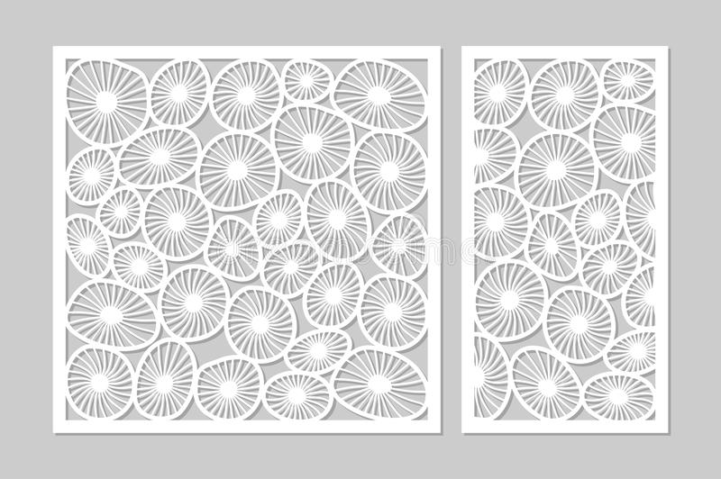 Template for cutting. Round art pattern. Laser cut. Set ratio 1:2, 1:1. Vector illustration. vector illustration