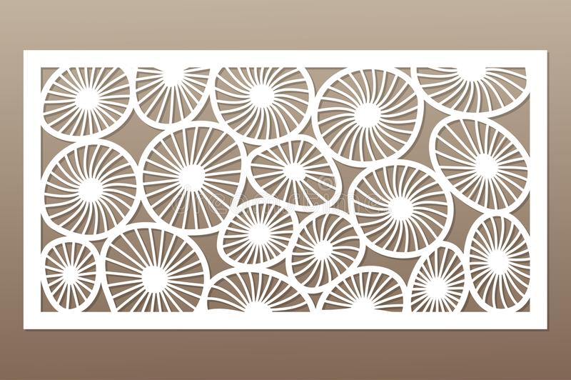 Template for cutting. Round art pattern. Laser cut. Set ratio 1:2. Vector illustration.  stock illustration