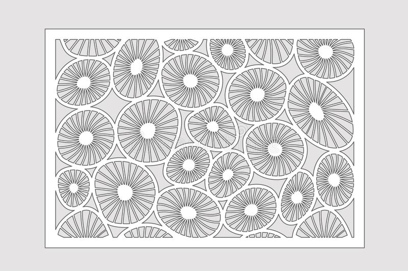 Template for cutting. Round art pattern. Laser cut. Set ratio 2:3. Vector illustration.  royalty free illustration