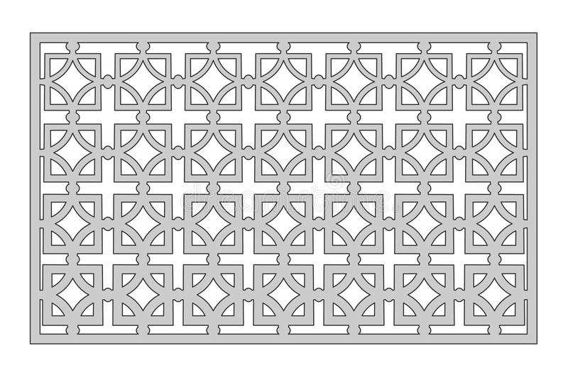 Template for cutting. Square repeat pattern. Laser cut. Ratio 1:2. Vector illustration stock illustration