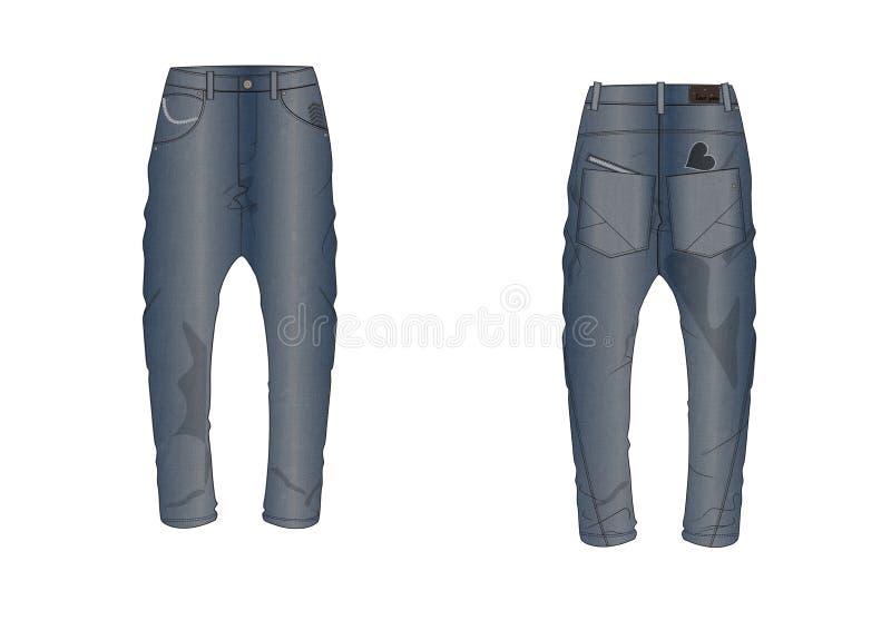 Template of denim decorated pocket man pant design vector illustration