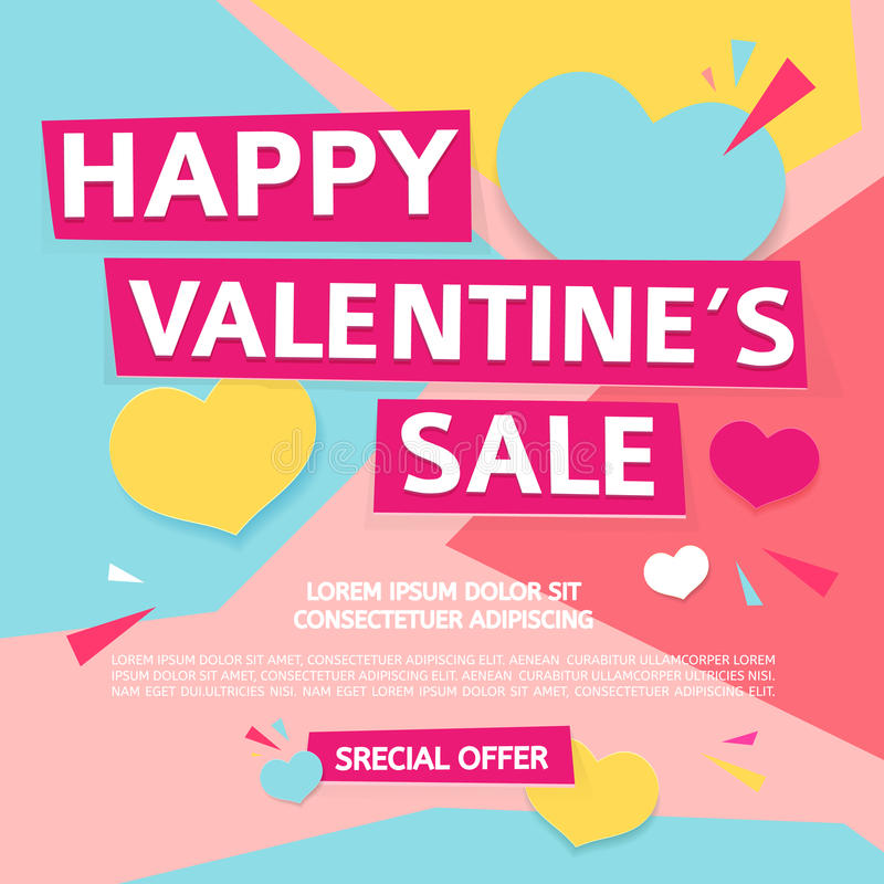Template design banner for Valentine`s day offer. Geometric background with decor heart and particles for happ. Y Valentine`s day sale. Romantic promotion card royalty free illustration