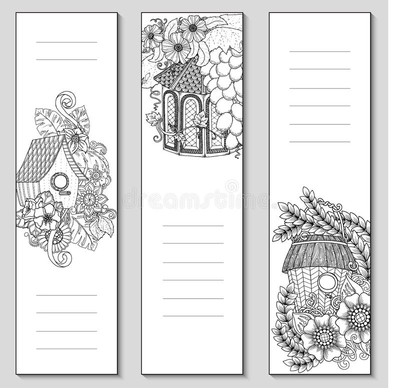 Template design bookmarks isolated coloring page mockup Coloring book mockup