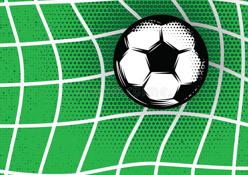 Template for design on football theme with green lawn, gate and soccer ball. Vector template for design on football theme with green lawn, gate and soccer ball vector illustration
