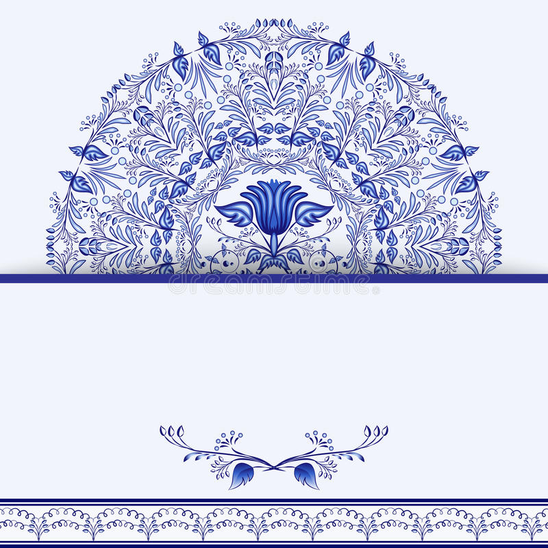 Template Design Greeting Card Or Invitation With Blue Floral Mandala ...