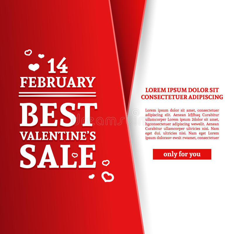 Template design Happy valentine`s day card. Discount poster with red color tape and special valentine`s sale text royalty free illustration