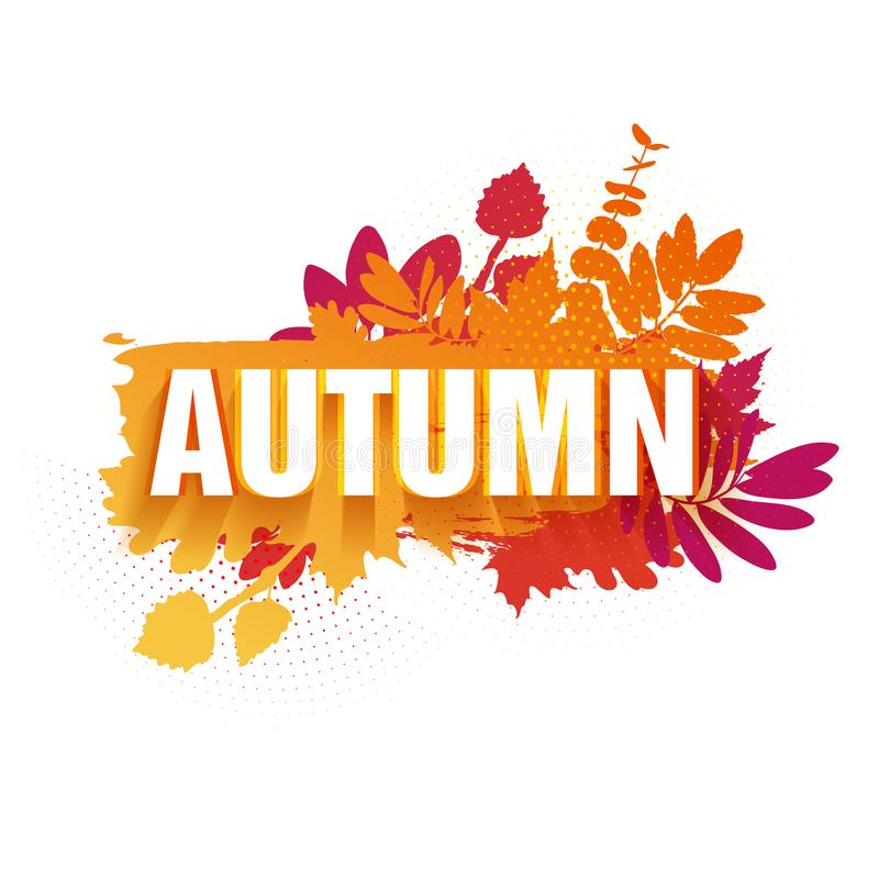Template for the design of a horizontal banner for the autumn season. Sign with text fall on a red background with a royalty free illustration
