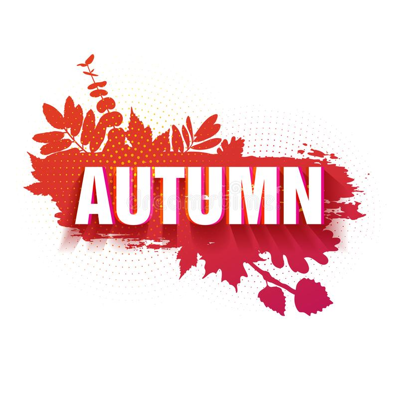 Template for the design of a horizontal banner for the autumn season. Sign with text fall on a red background with a. Decor of a silhouette of maple leaves and stock illustration