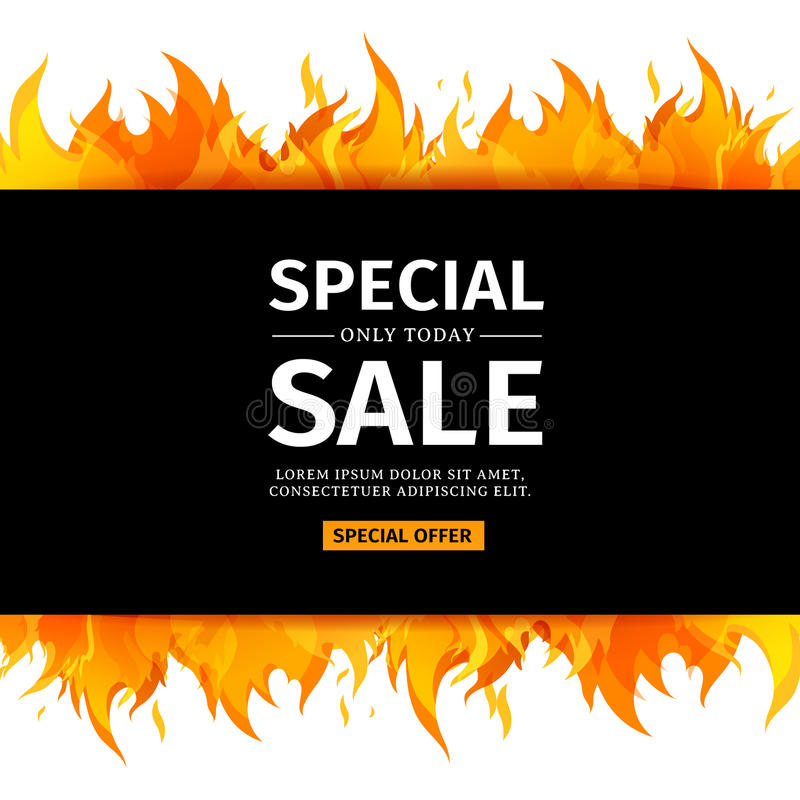 Template design horizontal banner with special sale card for hot download template design horizontal banner with special sale card for hot offer with frame fire stopboris Choice Image