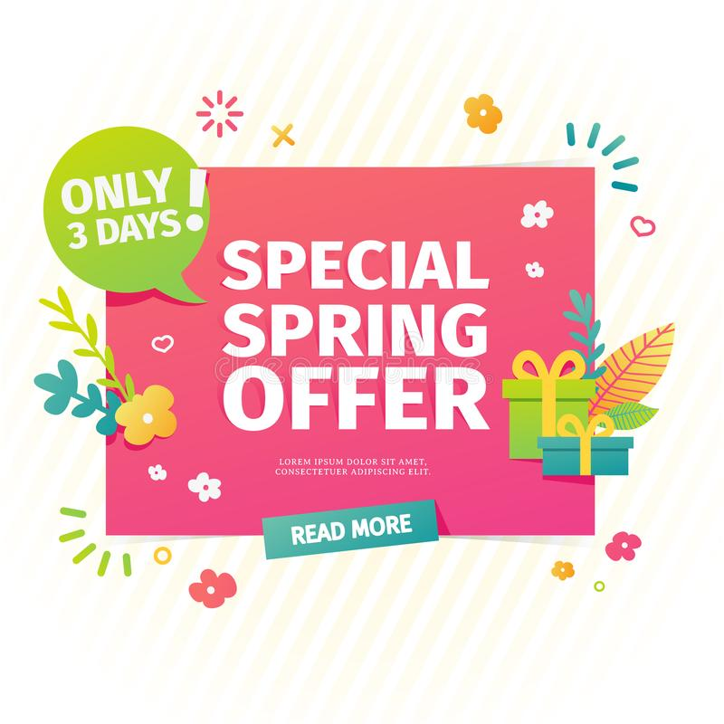 Template design horizontal web banner for spring offer. Advertising poster with a decor of flowers and leaves frame. Badge for the spring sale in a flat style vector illustration