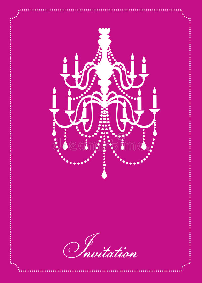 Template design of invitation with chandelier royalty free illustration