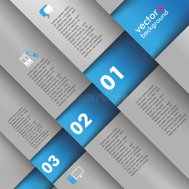 Template Design 5 Options Depth Bevel Blue Gray. Template design with gray and blue colors stock illustration