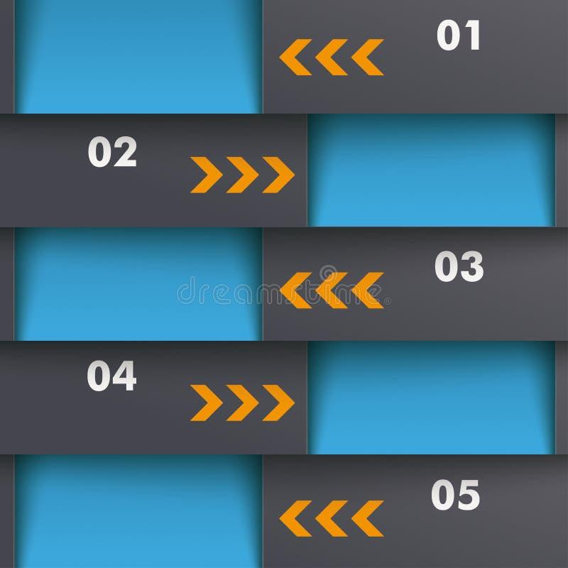 Template Design 5 Options Depth Blue Orange PiAd. Template design with black and orange colors. Eps 10 file royalty free illustration