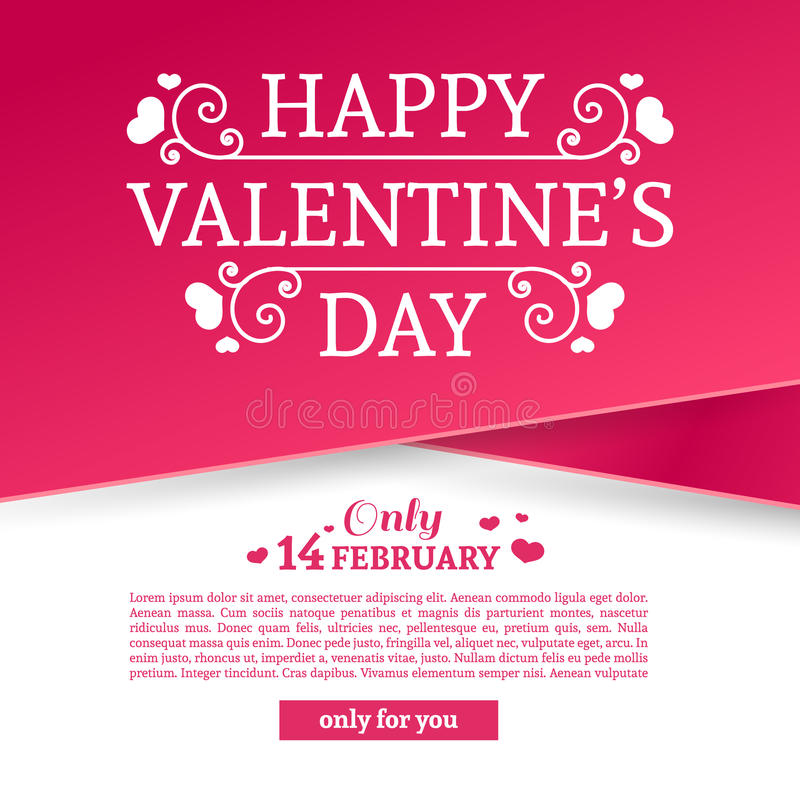 Template design Valentine banner. Happy valentine`s day brochure with decoration pink tape for sale. Romantic poster. With swirl love vintage logo and heart stock illustration