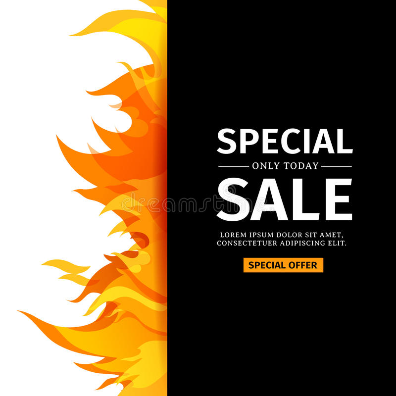 Template design vertical banner with special sale card for hot template design vertical banner with special sale card for hot offer with frame fire graphic invitation layout with flame border on black background stopboris Choice Image