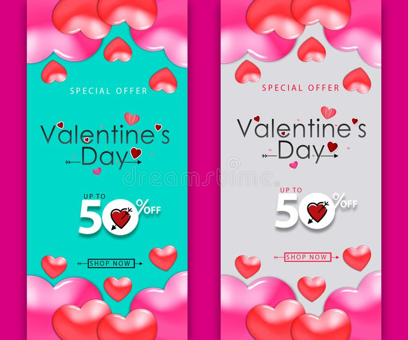 Template design vertical banner for Valentine's day special offer background with decor heart and particles for happy Valentine ' vector illustration