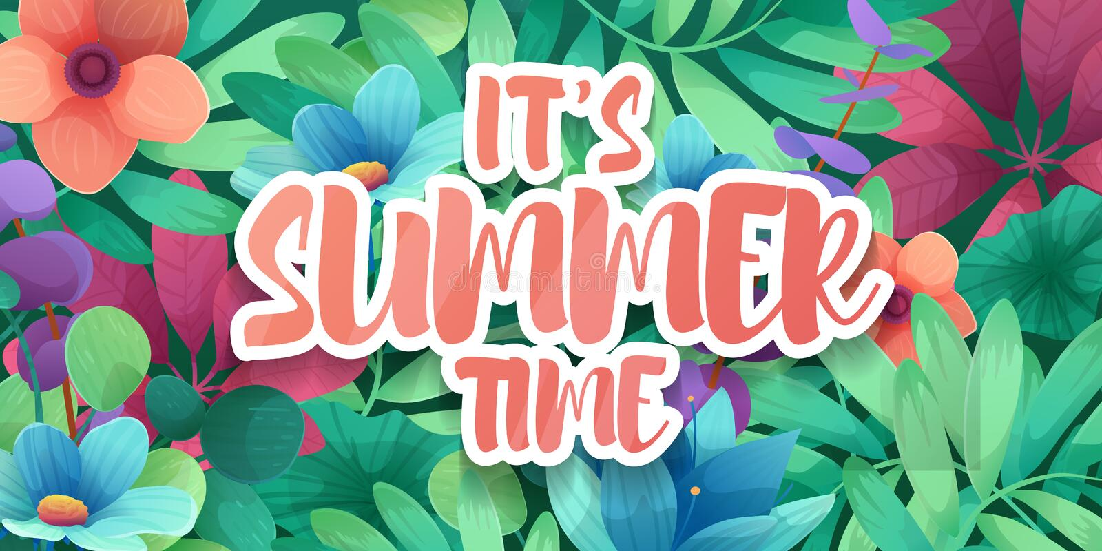 Template designhorizontal banner for summer offer. Special season poster advertising with floral frame. It`s summer time stock illustration
