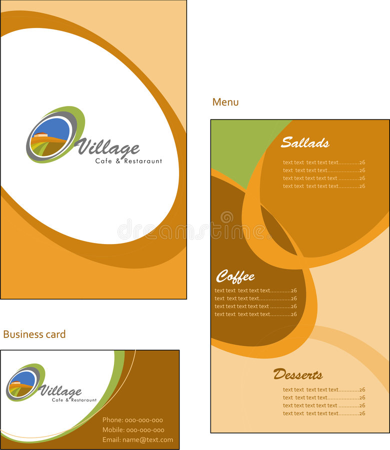Template designs of menu and business card for co royalty free illustration
