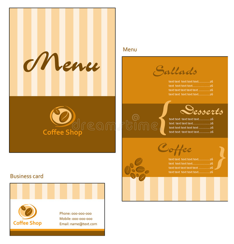 Template designs of menu and business card for cof vector illustration