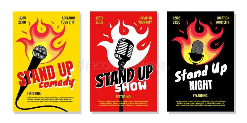 Template di navigazione - poster in stand up club commedia notturno live show A3 A4 Mirino di vetro con fuoco su fondo giallo ros royalty illustrazione gratis