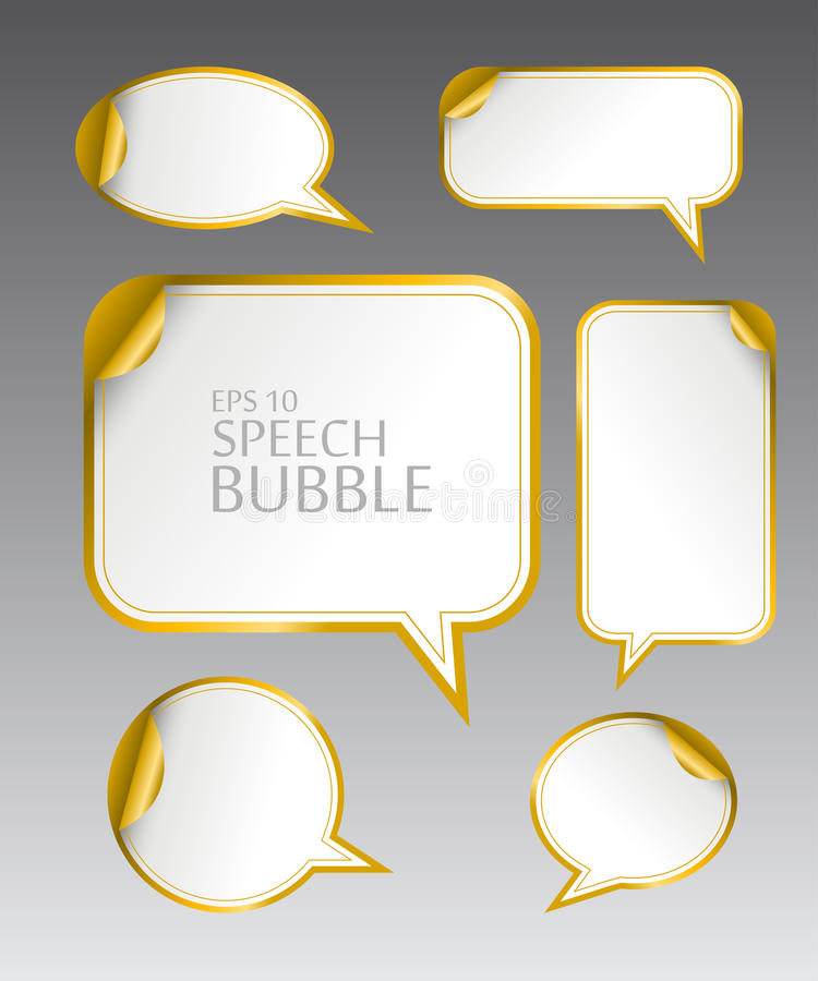 Template of different empty gold speech bubbles with curved corner for dialogue and thought communication vector illustration
