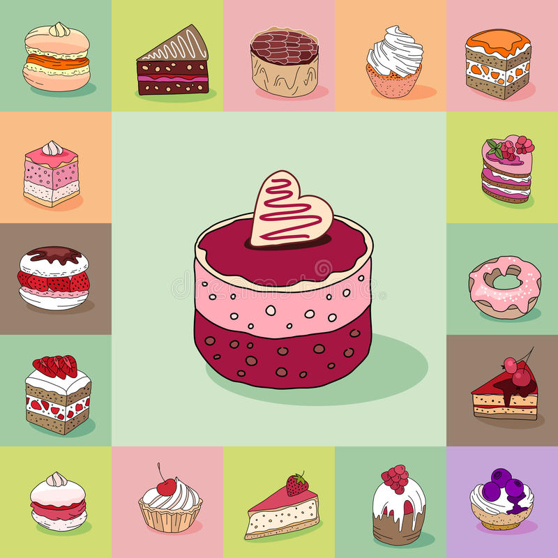 Template with different kinds of delicious desserts. Various taste. For restaurant design, posters, announcements, cafe menu etc stock illustration