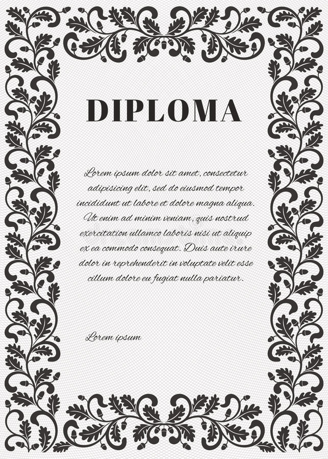 Template for diploma with Guilloche background grid and ornate frame vector illustration