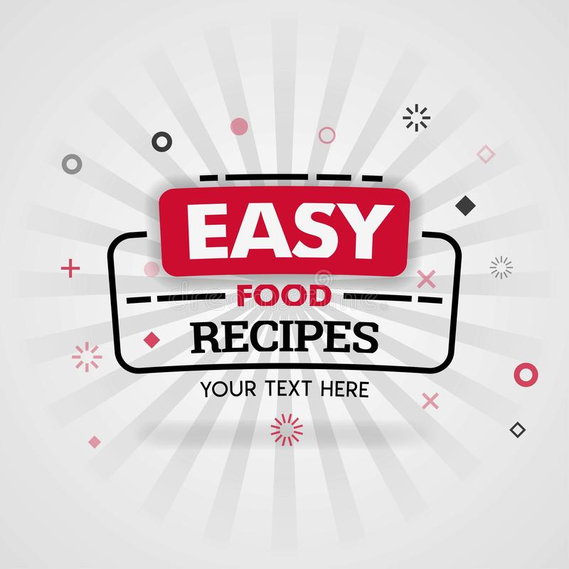 Template for easy food recipes red cover book. Can be use for food advertising poster and flyer, social media post promotion, onli vector illustration