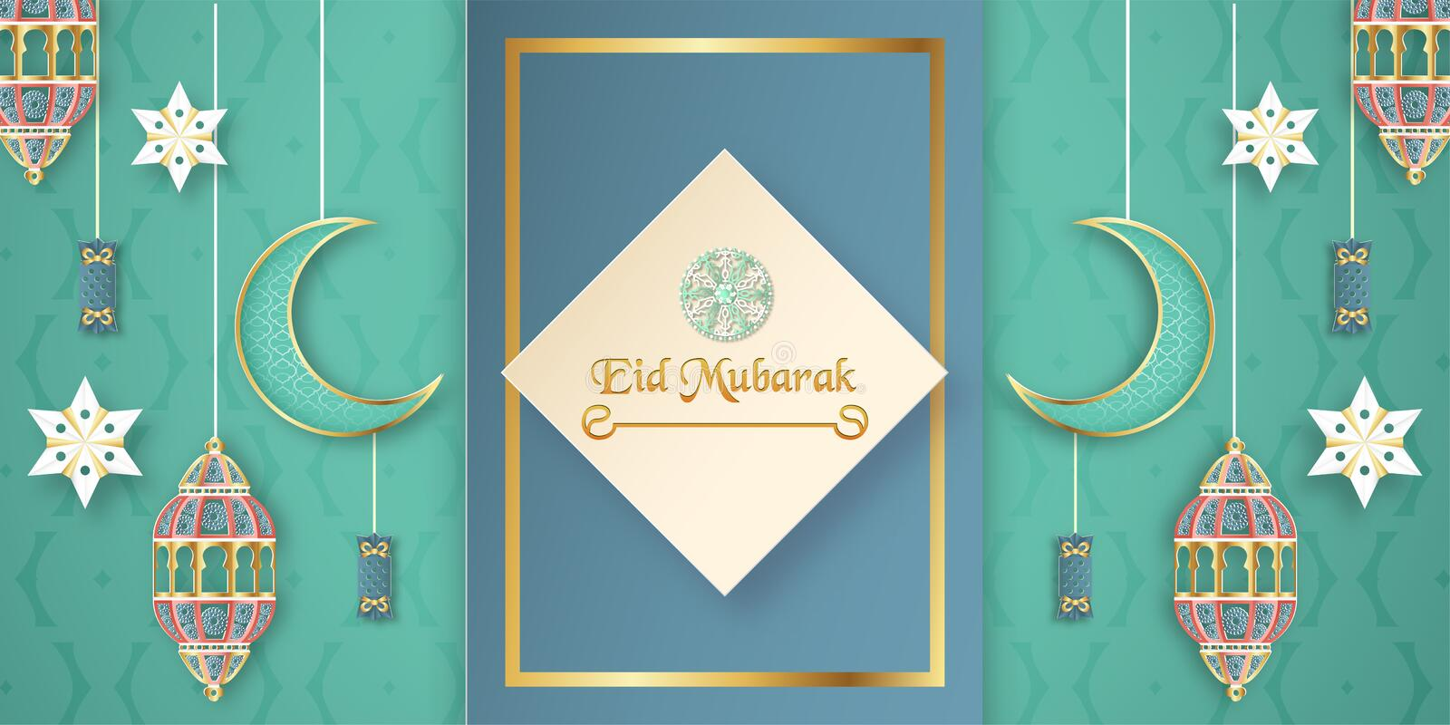 Template for Eid Mubarak with green and gold color tone. 3D Vector illustration in paper cut and craft  for islamic greeting card vector illustration