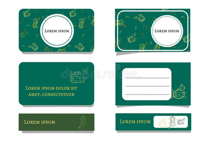 Template emerald green business cards with bottles and plants. Floral ornament and white dies for text. Vector illustration for royalty free illustration