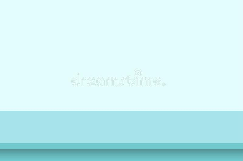 Template empty blue studio table room background. Table on vivid wall background. Banner for advertise product on website. Vector. Illustration royalty free illustration
