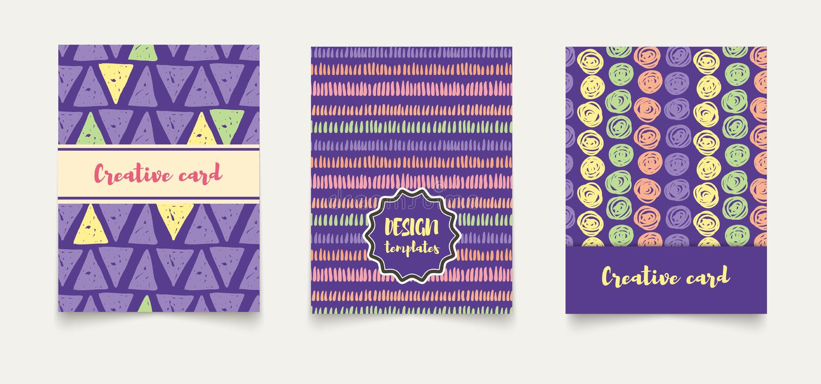 Template ethnic creative cards. royalty free illustration