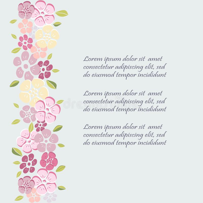 Template with flowers for party invitation greeting card postcard download template with flowers for party invitation greeting card postcard girl birthday stock stopboris Images