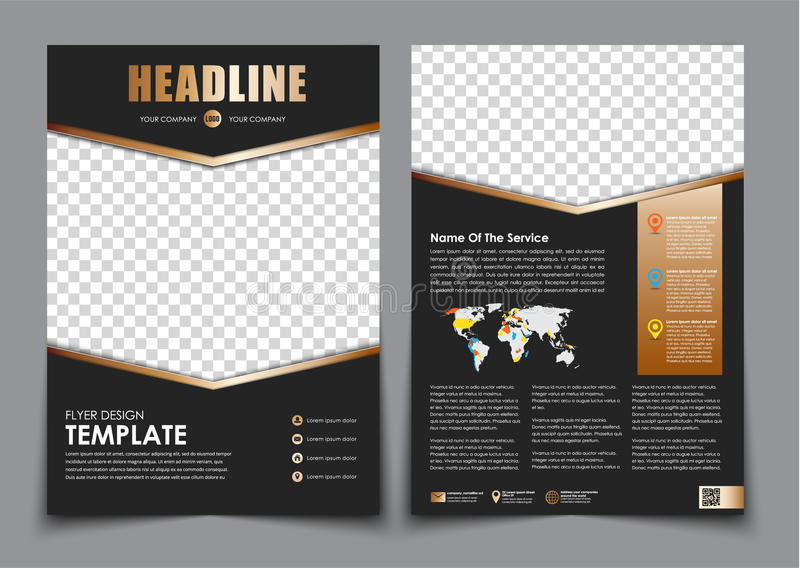 Template Flyer Black With Golden Arrows Design 2 Page Brochure