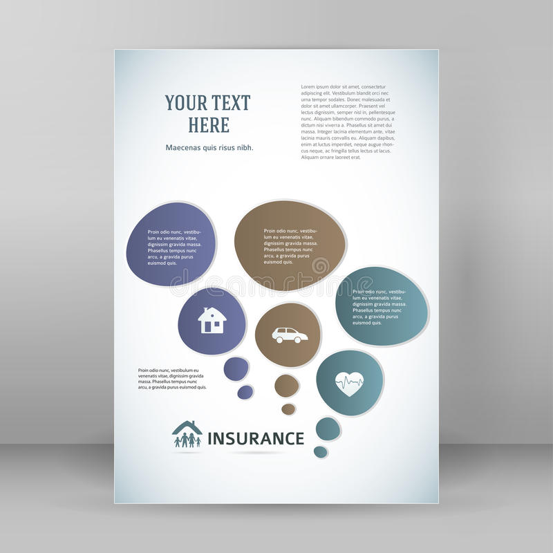 Template Flyer A4 Brochure Layout Insurance Stock Vector