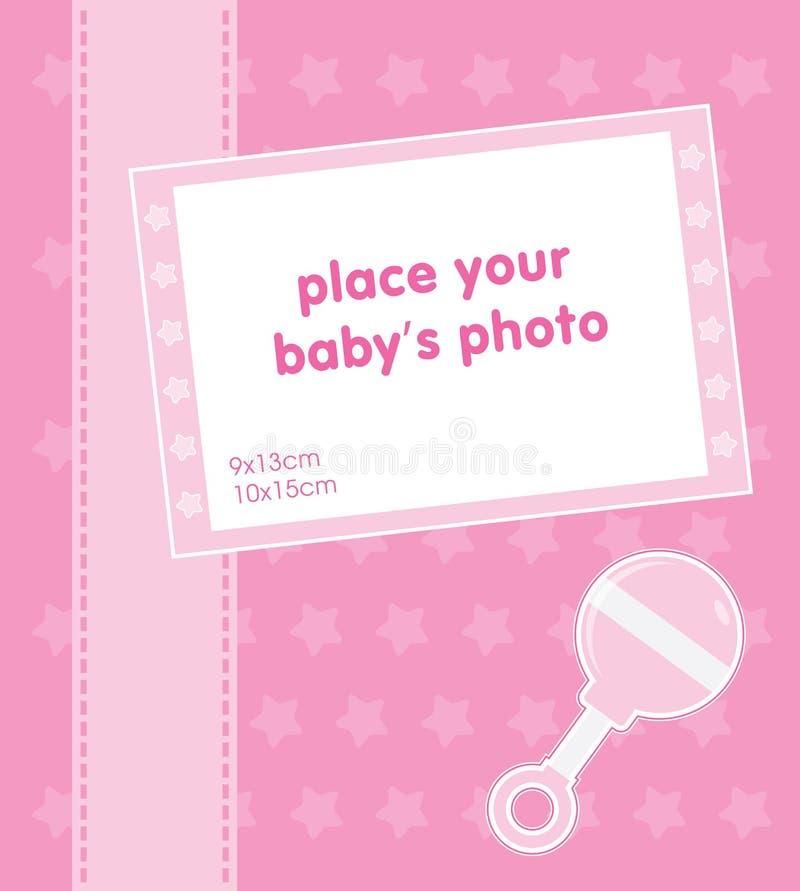 Template frame design for baby girl photo royalty free illustration