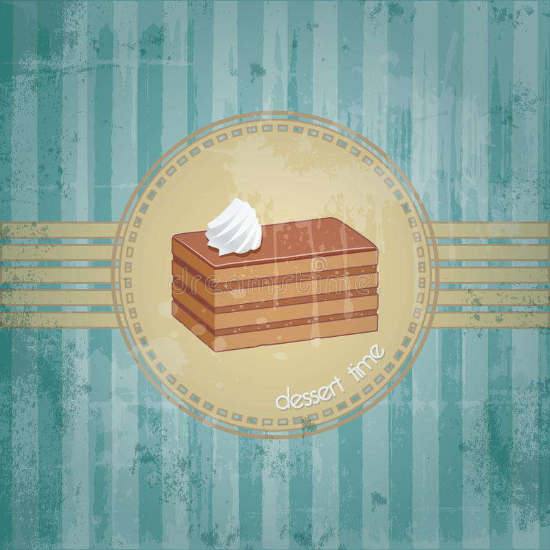 Template frame design with chocolate cake piece. Old retro style, dessert time concept royalty free illustration