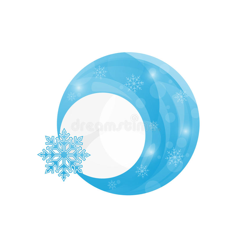 Template Frame Design With Christmas Snowflake Stock Photography
