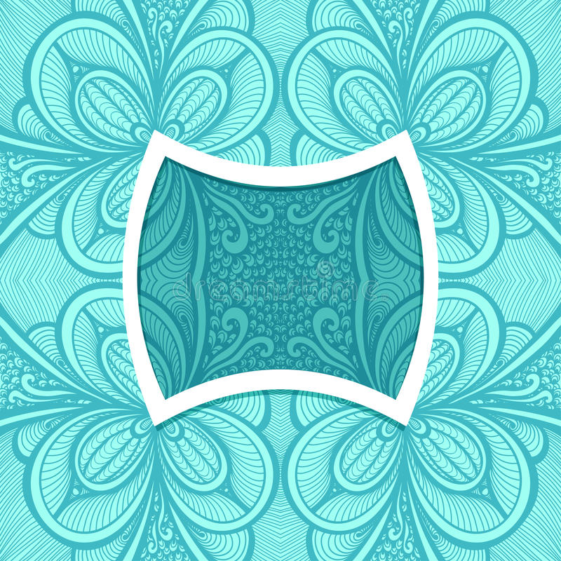 Template with frame and seamless Zen-doodle pattern in blue vector illustration