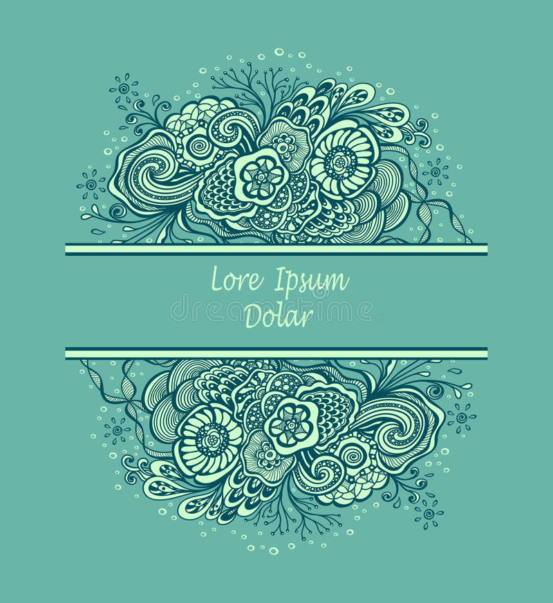 Template frame with unique Doodle elements in vintage handmade style in marine blue vector illustration