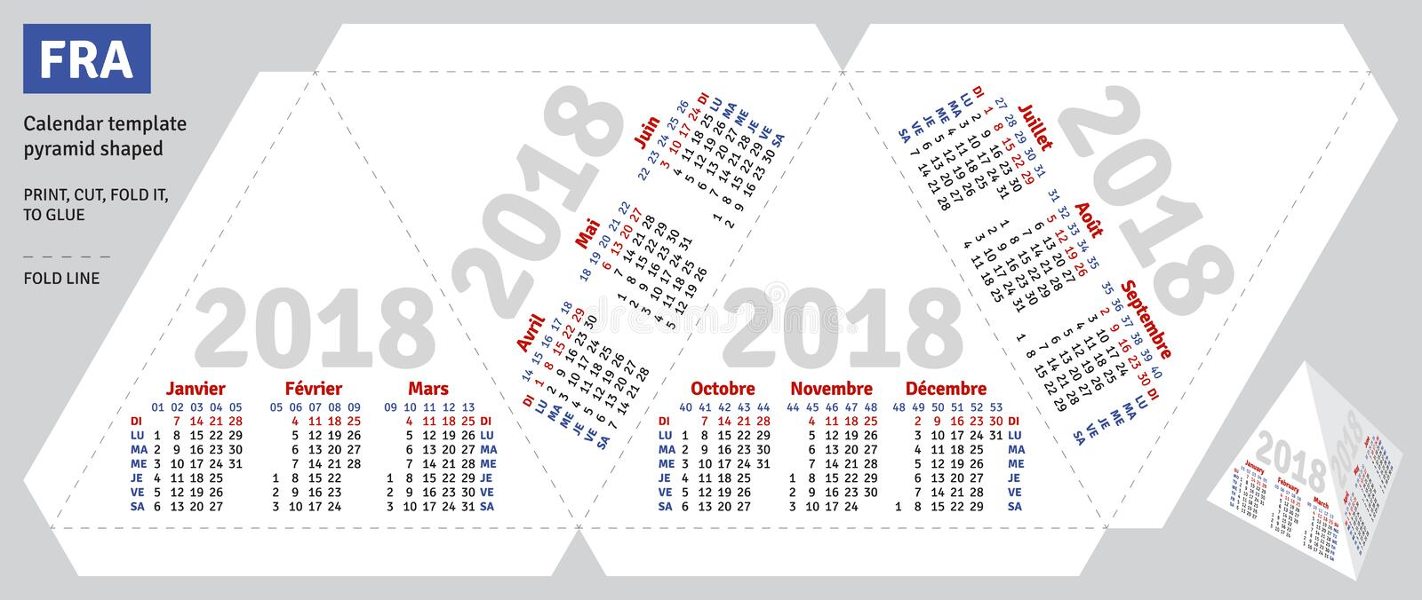 Template French Calendar 2018 Pyramid Shaped Stock Vector