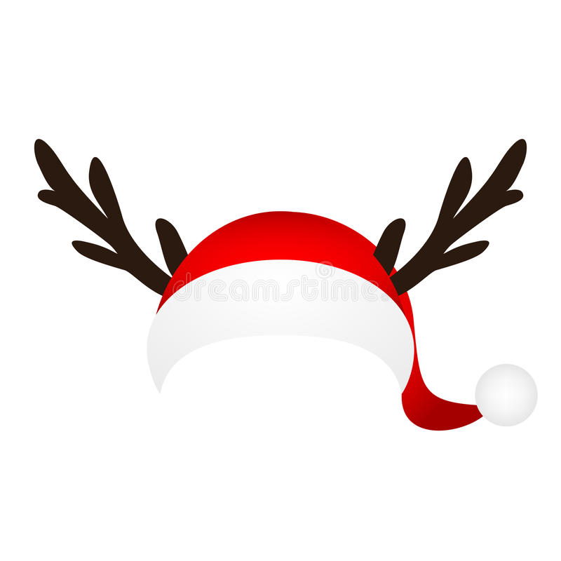 Template for a fun photo of Santa Claus hat and horn Christmas r royalty free illustration