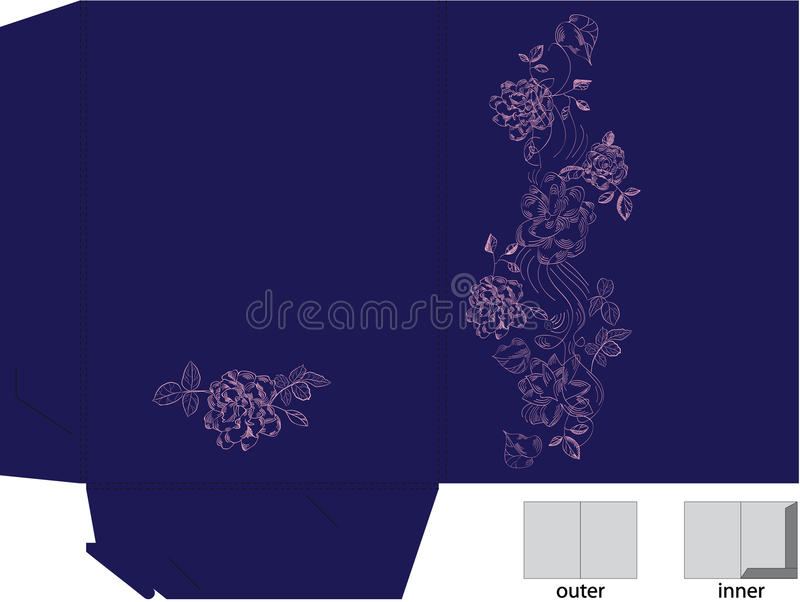 Template For Gift Folder With Die Cut. Royalty Free Stock Image