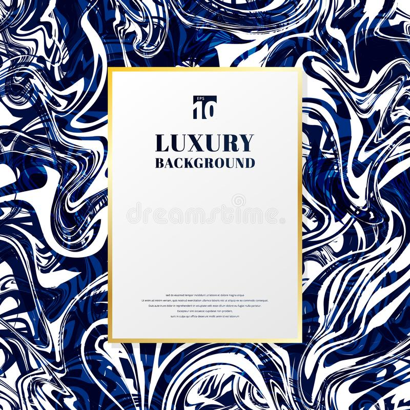 Template gold rectangle frame with space for text on blue and white marble background and texture. Luxury style vector illustration