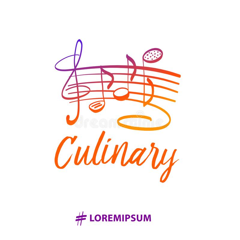 Template gourmet chef insignia. Exclusive logotype with cookware stock illustration